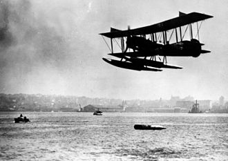 Curtiss Model R - A U.S. Navy R-6L dropping a torpedo.