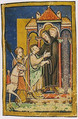 Boisil - Boisil greets Cuthbert at Melrose; 12th-century miniature form British Library Yates Thomson MS 26 version of Bede's prose Life of St Cuthbert