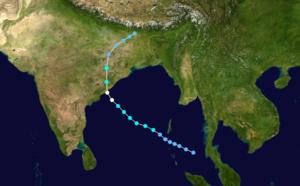 1995 India cyclone - Image: Cyclone 03B 1995 track