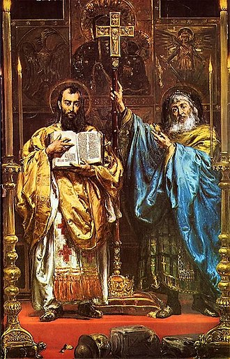 Saints Cyril and Methodius - Cyril and Methodius, painting by Jan Matejko, 1885.
