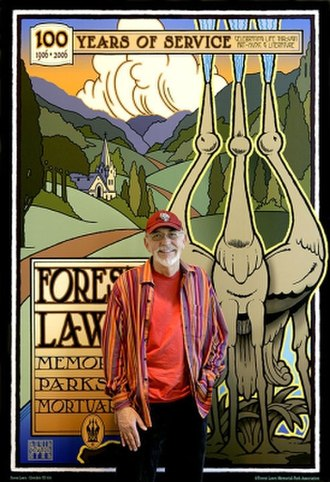 David Edward Byrd - David Edward Byrd in front of the poster he created for Forest Lawn in 2005.