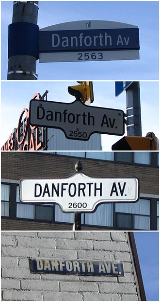 Danforth Avenue - Street signs from various eras for Danforth Avenue in Toronto