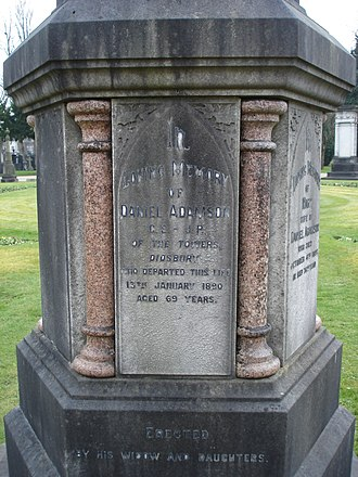 Daniel Adamson - Funerary monument of Daniel Adamson, Southern Cemetery, Manchester