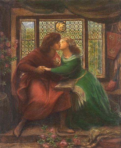 Dante Gabriel Rossetti, Paolo e Francesca, 1867, Preraffaelliti
