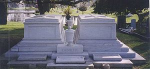 William C. deMille - Tombs of Cecil Blount DeMille (right), Constance DeMille (left), William DeMille (urn in front), Clara DeMille (stone below urn in front)