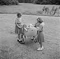 De prinsessen Beatrix, Irene en Margriet bij de kinderwagen met daarin prinses C, Bestanddeelnr 255-7541.jpg