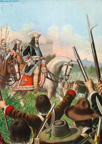 Savoyard–Waldensian wars - Victor Amadeus declares war on France; his subjects cheer. 1929 image.