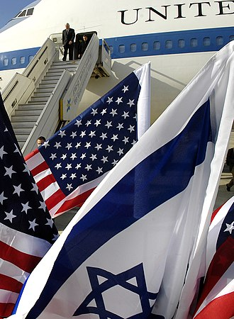 Israel–United States military relations - Israel and the United States maintain a close military relationship. Israeli and American flags fly as Secretary of Defense Robert M. Gates arrives in Tel Aviv, Israel, April 18, 2007.