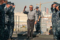Defense Secretary Chuck Hagel arrives aboard the afloat forward staging base USS Ponce (AFSB(I) 15) in Bahrain Dec. 6, 2013 131206-N-IZ292-011.jpg