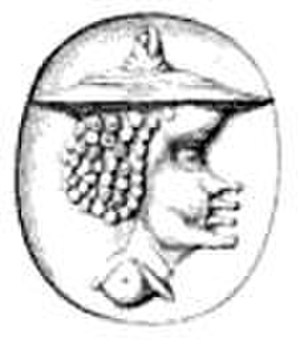 Aesop - Example of a coin image from ancient Delphi thought by one antiquarian to represent Aesop.