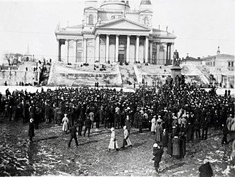 Finnish Civil War - A demonstration at Helsinki Senate Square. The mass meetings and local strikes of early 1917 escalated to a general strike in support of the Finnish state's power struggle and for increased availability of foodstuffs.