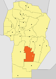 Location of Juárez Celman Department in Córdoba Province