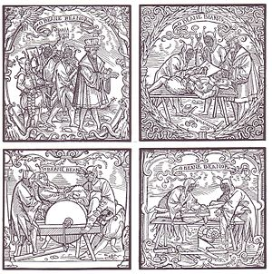 Deposition (university) - Deposition: Polishing off the horns. Woodcut from the 16th century
