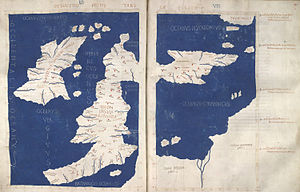 Gough Map - 15th C. map of the British Isles based on Ptolemy's 2nd C. map.