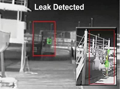 Thermal camera system with video analysis software detecting an oil leak from a valve at 50 feet and 150 feet in heavy rain.