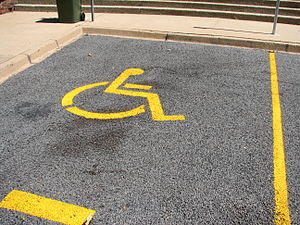 English: A disabled parking place in Torrens. ...