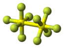 Ball-and-stick model of disulfur decafluoride