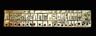 "Sekhemkhet - An ivory plaque bearing the form of Sekhemkhet's Saqqara Kinglist name of ""Djoserti"" found in the remains of his step pyramid tomb."