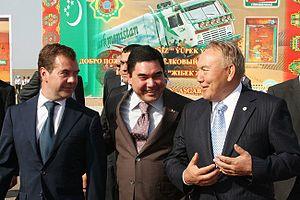 Gurbanguly Berdimuhamedow - With President Dmitry Medvedev and President of Kazakhstan Nursultan Nazarbayev