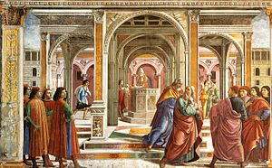 Domenico Ghirlandaio - Expulsion of Joachim from the Temple - WGA8827.jpg
