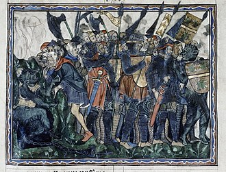 Gilbert de Clare, 7th Earl of Gloucester - Douce Apocalypse, c. 1265–70. The dragon, who is Satan, comes forth again (Rev. 20:7). Among the flags of the host of Satan is that of Gilbert de Clare, Earl of Gloucester, who had opposed Henry III.