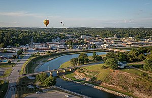 Harrison, Arkansas - Lake Harrison Park and Downtown Harrison view from a Hot Air Balloon during the Balloon Festival