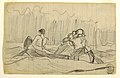 Drawing, Oblique View of Canoe with Three Men, probably 1897 (CH 18175129).jpg