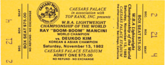 Boxing fight ticket from 1982 for a fight between Ray Mancini and Duk Koo Kim that ended with the latter's death. Duk Koo Kim vs Ray Mancini ticket.png