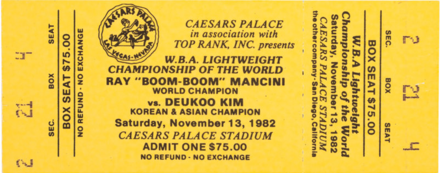 Boxing fight ticket from 1982 for a fight between Ray Mancini and Duk Koo Kim that ended with the latter's death.