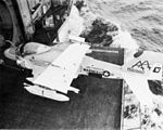 EA-6A VMCJ-2 on elevator of USS Forrestal (CVA-59) 1971.jpg