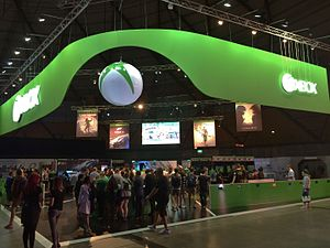 EB Games Expo 2015 - A view of the entrance to the Xbox One booth, the largest at the show.