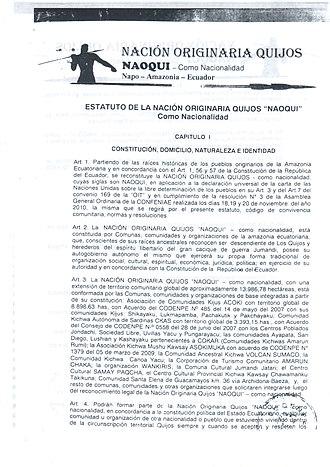 Quijos-Quichua - Statute of the Quijos nation