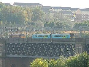 King Edward VII Bridge - Image: EWS 67001 + Northern 156453 King Edward VII Bridge
