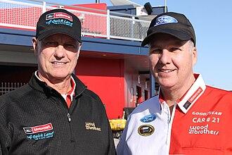 Wood Brothers Racing - Len and Eddie Wood at Las Vegas Motor Speedway in 2015