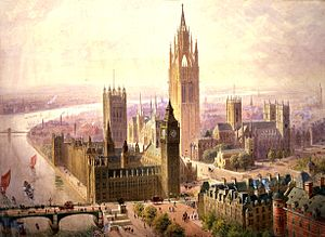 Edward Buckton Lamb - Lamb's son, Edward Beckitt Lamb, was also an architect. He and John Pollard Seddon created this 1904 design for a new Imperial Monumental Halls and Tower at Westminster was supposed to house the monuments alongside imperial trophies. The Gothic Revival tower would have been the tallest building in the UK with a similar floor area to the Abbey next door. Several different drawings from different angles were created.
