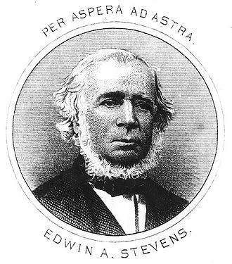 Edwin Augustus Stevens - Line engraving of Edwin A. Stevens published in The Stevens Ironclad Battery