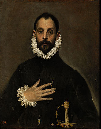 Spanish Renaissance - El caballero de la mano en el pecho, by El Greco