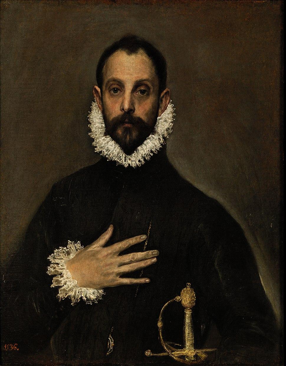 El caballero de la mano en el pecho, by El Greco, from Prado in Google Earth