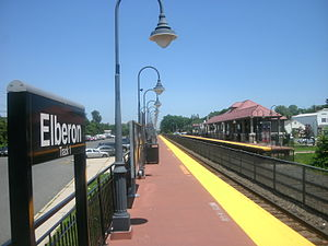 Elberon station - The Elberon station facing from the southern end of the Bay Head-bound platform in June 2011.