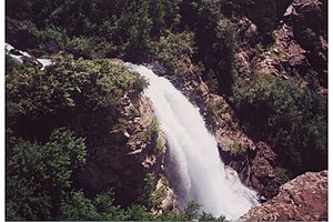Mission Mountains - Several spectacular waterfalls grace the western slope of the Missions, in the Tribal Wilderness