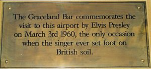 Glasgow Prestwick Airport - Plaque recording the only occasion when Elvis Presley set foot in the UK.