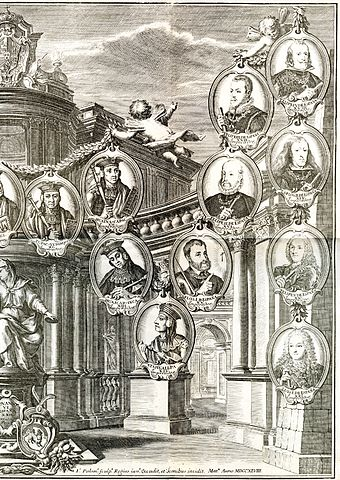 Detail of a gallery of portraits of sovereigns in Peru, showing continuity from Inca emperors to Spanish monarchs. Published in 1744 by Jorge Juan and Antonio de Ulloa in Relacion del Viaje a la America Meridional Emperadores del Peru Parte2 - AHG.jpg
