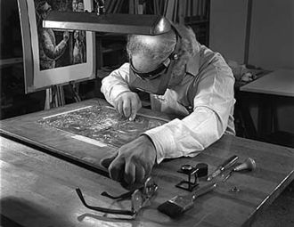 Engraving - Artist and engraver Chaim Goldberg at work