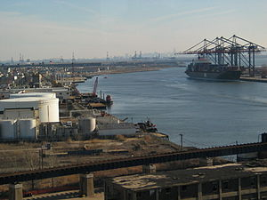 Howland Hook Marine Terminal - Looking northeast from the Chemical Coast across Arthur Kill, with Howland Hook Marine Terminal on far right, and Port Newark in distance