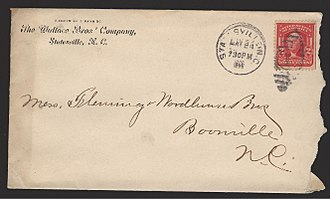 Envelope - Front of an envelope mailed in the U.S. in 1906, with a postage stamp and address