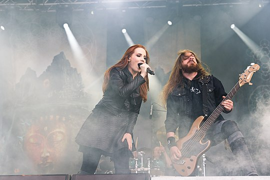 Simons and Van der Loo during The Ultimate Enigma Tour Epica Rockharz 2015 06.jpg