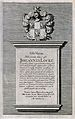 Epitaph on John Locke's tomb; above which is a coat of arms. Wellcome V0018882.jpg
