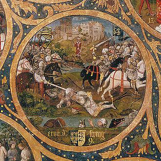 Ernest, Margrave of Austria - Ernest the Brave at the Battle of Langensalza, Babenberger Stammbaum, Klosterneuburg Monastery, 1489–1492