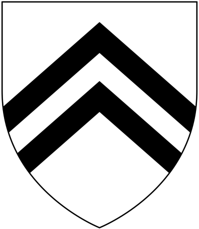Arms of de Esse or de Ashe/Aysshe: Argent, two chevrons sable Esse of Sowton Devon Arms.PNG