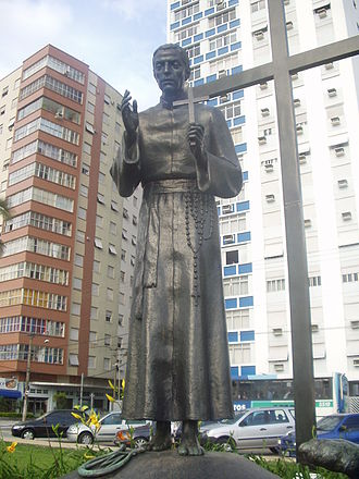 1597 in poetry - Statue of José de Anchieta in Santos, Brazil